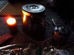 Mein Gas-Setup im Kerzenschein