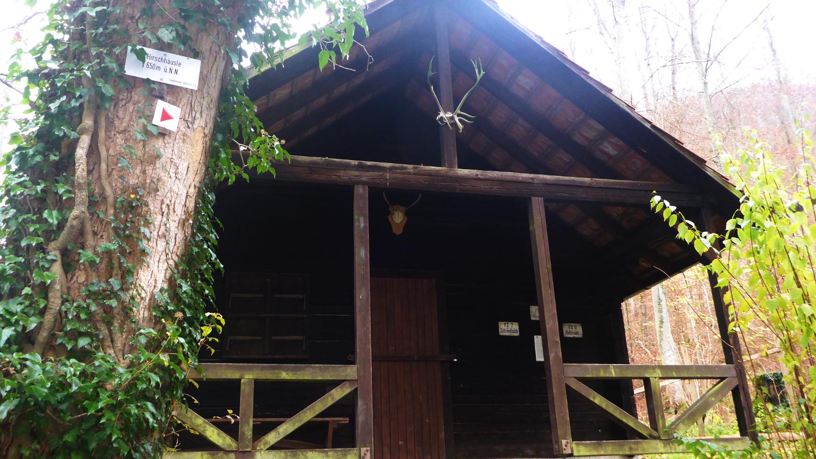 """Die Hütte """"Hirschhäussle"""" im Tal zwischen dem Rossberg und dem Bolberg"""