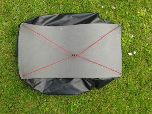 Rückenmatte im Laufbursche Packsack (Rucksack ist auf links)