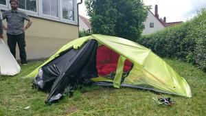 tied open modular 2p 1k tent