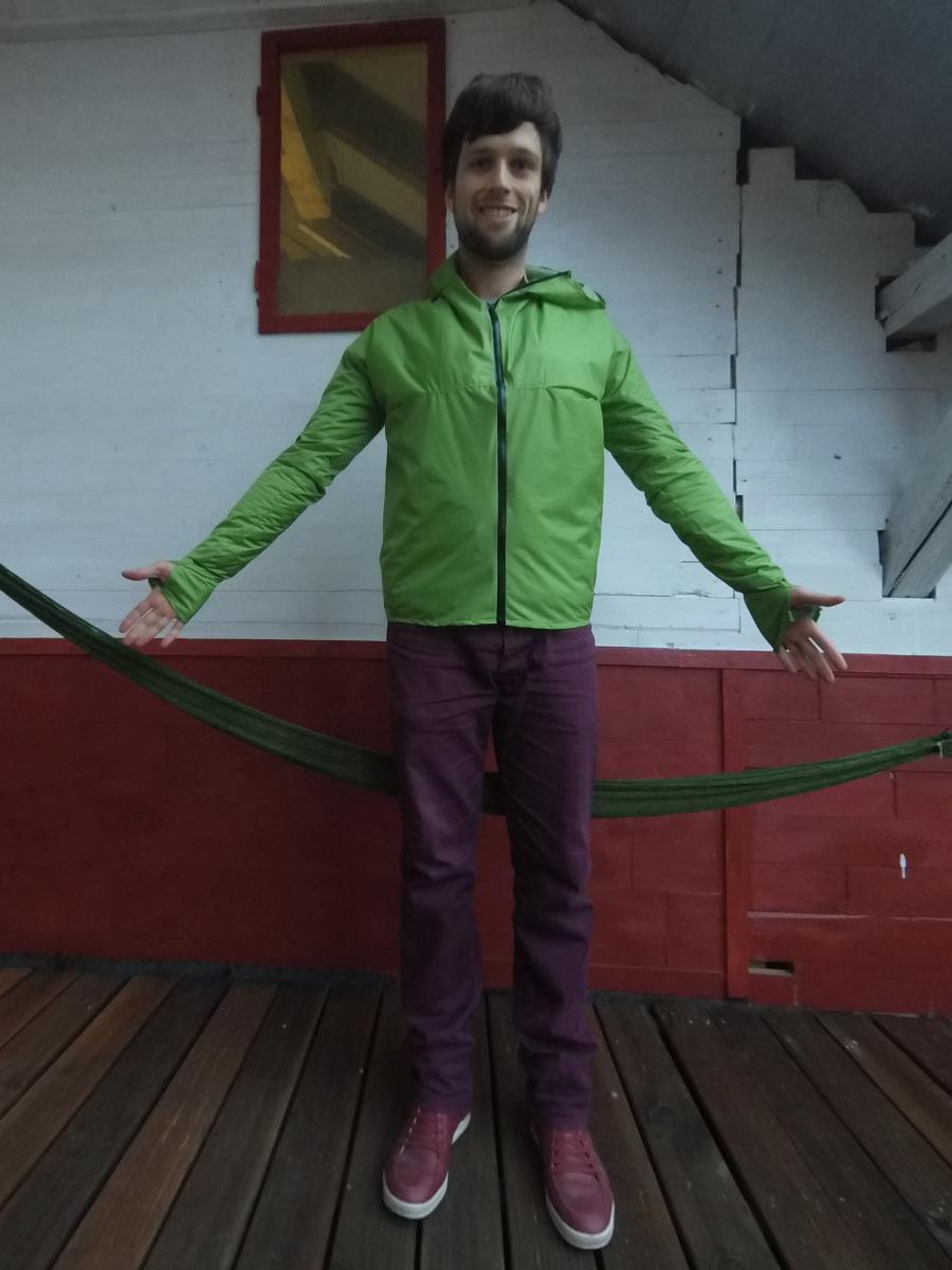 Unibody rain jacket front