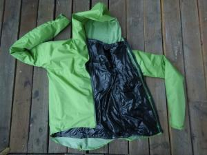 Unibody rain jacket with snap attached Climashield insulation